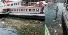 Çöpler kıyıya vurdu