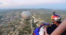 Kapadokya'da yamaç paraşütüyle dünya rekoru denemesi