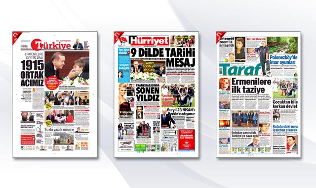 Başbakan'ın ermenilere taziye mesajı manşetlerde
