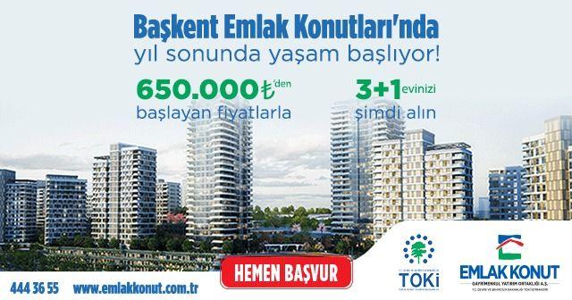 Başkent Emlak Konutları'nda 3+1 daireler 650.000 TL'den başlayan fiyatlarla!