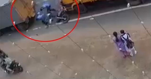 Şanslı motosikletliler kamerada