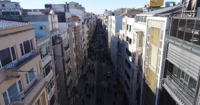 Yeni haliyle İstiklal Caddesi havadan görüntülendi
