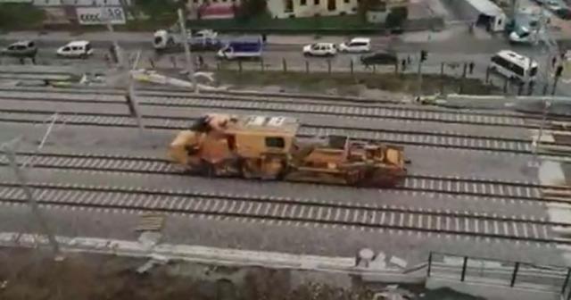 Kaza yapan demiryolu aracının görüntüleri ortaya çıktı