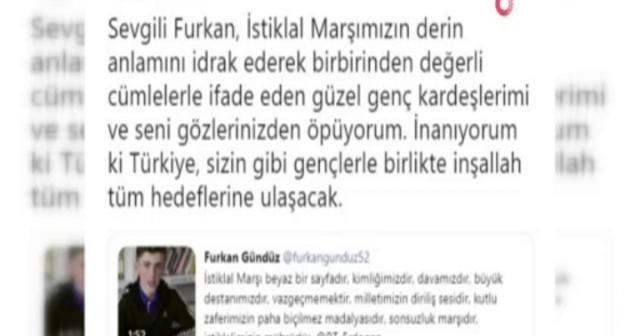 Cumhurbaşkanı Erdoğan'dan öğrencilerin İstiklal Marşı videosuna yanıt