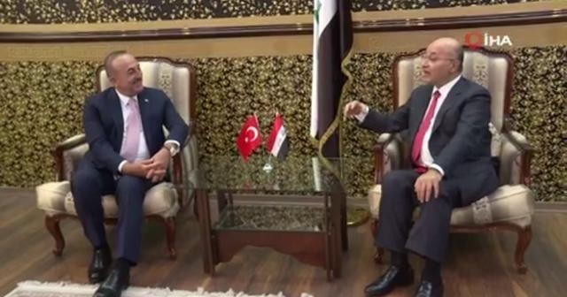 Bakan Çavuşoğlu, Irak Cumhurbaşkanı Salih ile görüştü