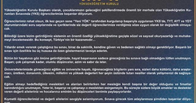 YÖK Başkanı Saraç'tan başarı mesajı