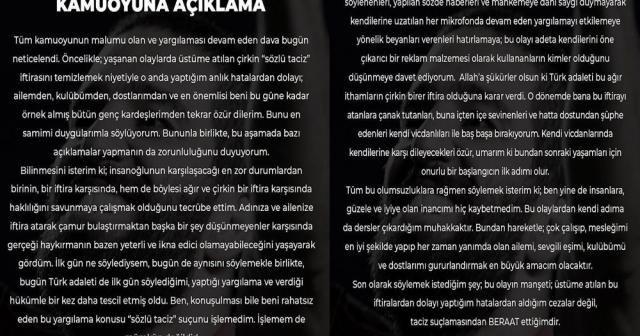 Karar sonrası Arda Turan'dan ilk açıklama