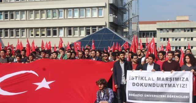 Boğaziçili öğrencilerden İstiklal Marşı'na saygısızlığa tepki