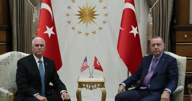 Cumhurbaşkanı Erdoğan'ın Mike Pence'i kabulü sona erdi