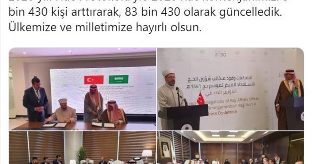 Türkiye'nin hac kontenjanı 83 bin 430'a yükseltildi