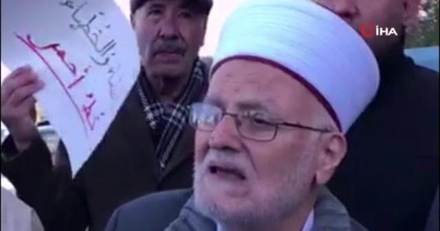 Mescid-i Aksa'ya girişi yasaklanan Şeyh İkrime Sabri, İsrail'i protesto etti