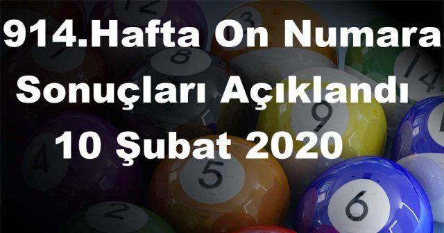 On Numara sonuçları açıklandı 914 Hafta On Numara sonuçları 10 Şubat 2020 Pazartesi belli oldu