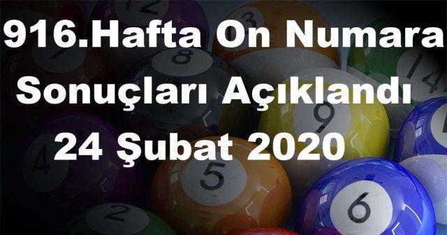 On Numara sonuçları açıklandı 916 Hafta On Numara sonuçları 24 Şubat 2020 Pazartesi belli oldu