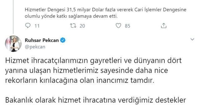 """Ticaret Bakanı Pekcan: """"Hizmet ihracatında Cumhuriyet tarihi rekorunu kırdık"""""""
