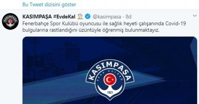 Kasımpaşa'dan Fenerbahçe'ye geçmiş olsun mesajı