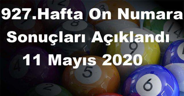 On Numara sonuçları açıklandı 927 Hafta On Numara sonuçları 11 Mayıs 2020 Pazartesi belli oldu