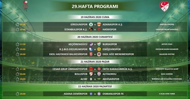 TFF 1. Lig'de 29, 30, 31 ve 32. hafta programları belli oldu