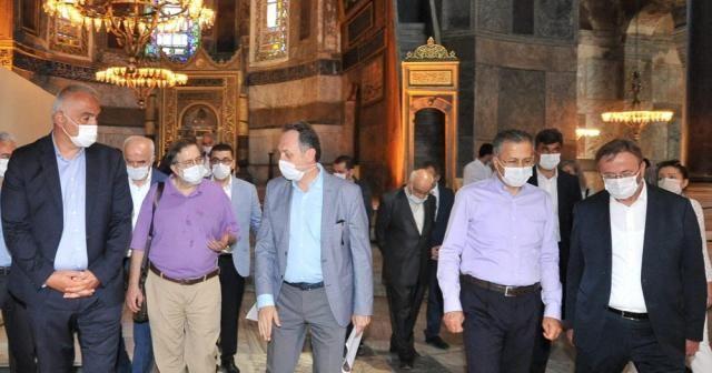 Bakan Ersoy ve Diyanet İşleri Başkanı Erbaş, Ayasofya Camii'nde incelemelerde bulundu
