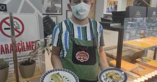 Altın kaplamalı baklava yaptı, dilimini 550 liradan satıyor