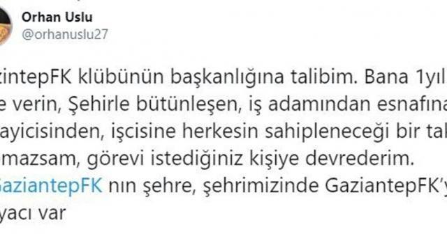 Gaziantep FK başkanlığına sürpriz aday