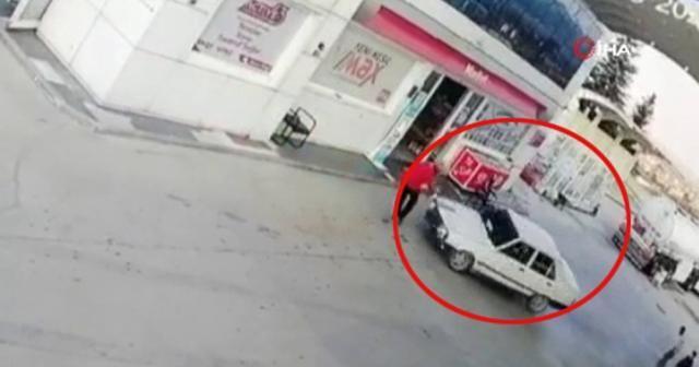 Veresiye yakıt vermeyen benzin istasyonu görevlisini otomobille böyle ezdi