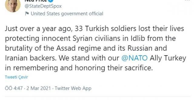 ABD Dışişleri Bakanlığı Sözcüsü Price, İdlib'de şehit düşen 33 Türk askerini andı