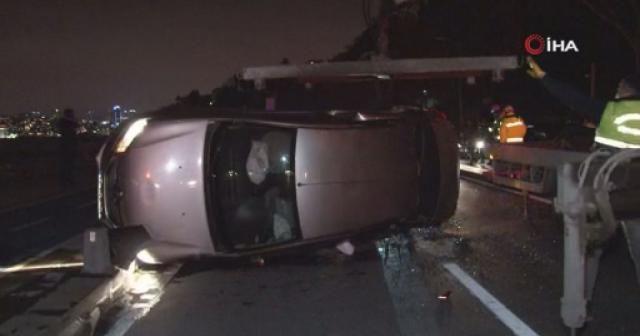 Üsküdar'da aşırı hız dehşeti: Önce çarptı sonra takla attı, 3 kişi yaralandı