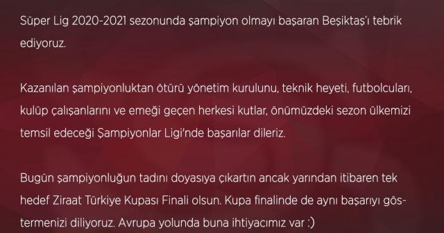 Sivasspor Beşiktaş'ı tebrik etti!