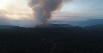 Aydın-Muğla sınırında başlayan orman yangına müdahale sürüyor