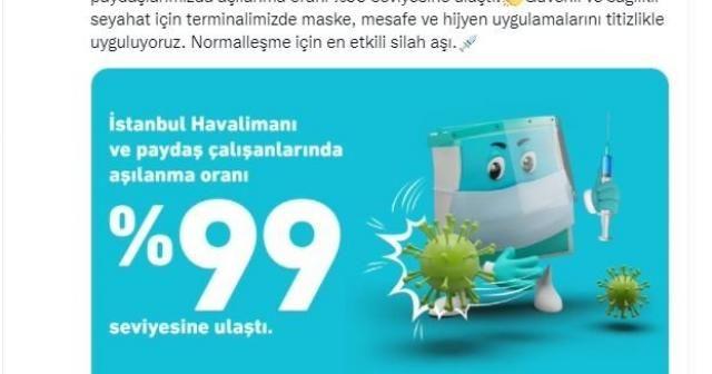 İstanbul Havalimanı'nda çalışanların aşılanma oranı yüzde 99'a ulaştı