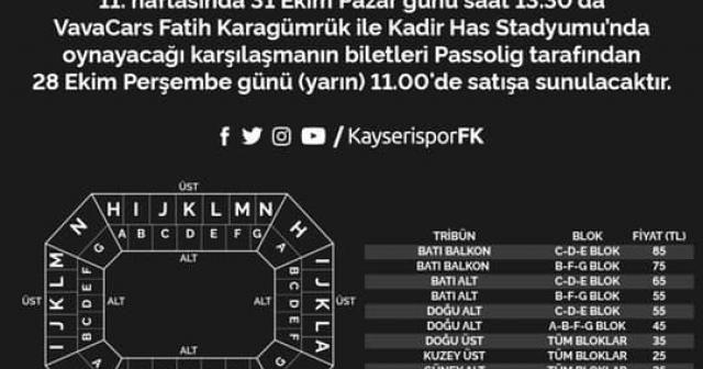 Kayserispor - Karagümrük maçının bilet fiyatları belli oldu