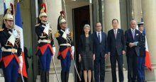 BM Genel Sekreteri Ban Ki Moon Elysee Sarayı'nda