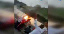 Hainler vatandaşa tankla saldırdı