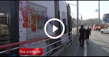 İstanbul'da tramvay raydan çıktı