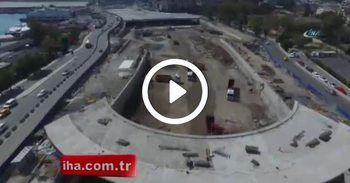 Avrasya Tüneli Projesinde son durum havadan görüntülendi