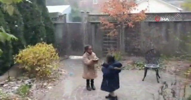 İlk kez kar gören Afrikalı çocukların sevinci