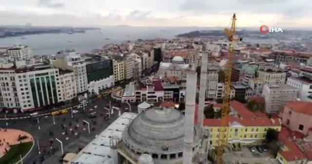 Taksim Camii'nde son durum havadan görüntülendi