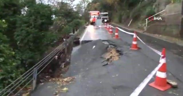 Yoğun yağış yolu çökertti