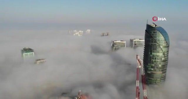 İstanbul'da etkili olan sis drone ile görüntülendi