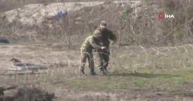 Yunan askerleri Meriç Nehri'ne jiletli tel çekti