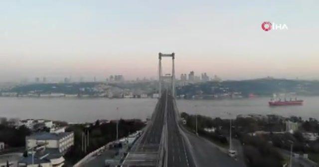 15 Temmuz Şehitler Köprüsü kısıtlamanın 2'nci gününde havadan görüntülendi
