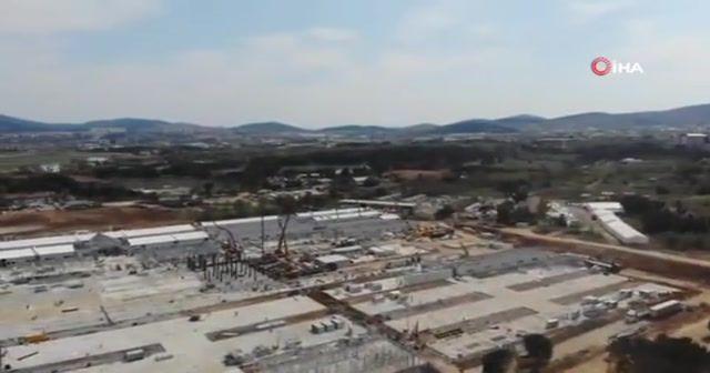 Salgın hastanesinin yapım çalışmaları havadan görüntülendi