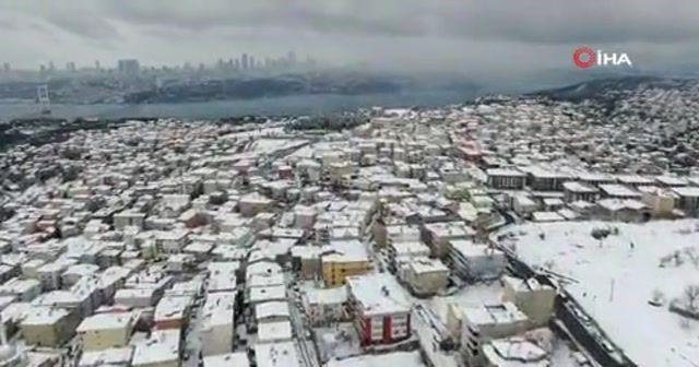 İstanbul'un kar manzarası havadan görüntülendi